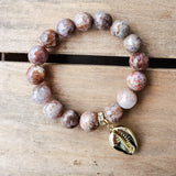 12mm landscape jasper gemstone beads gold dipped sea shell charm stretch bracelets