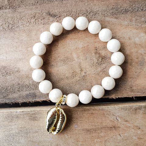 10mm creamy agate gemstone beads gold dipped sea shell charm stretch bracelets