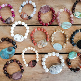approx. 29mm gemstone druzy ovals w 10mm, 12mm, 14mm beads vintage rhinestones bracelets collection