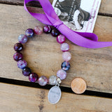 "12mm mermaid purple agate beads 1"" oval St. Dymphna medal stretch bracelet"