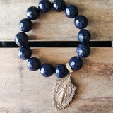 14mm  blue Goldstone gemstone beads vintage brass St. Mary medal