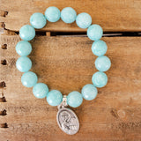 "12mm teal jade gemstone quality stretch bracelet 1"" oval medal"