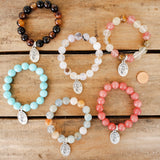 "12mm gemstones beads 1"" oval Mother Teresa medal quality stretch bracelet"
