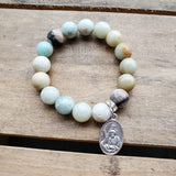 "Amazonite pale blue 12mm beads 1"" oval St. Andrew medal bracelet"