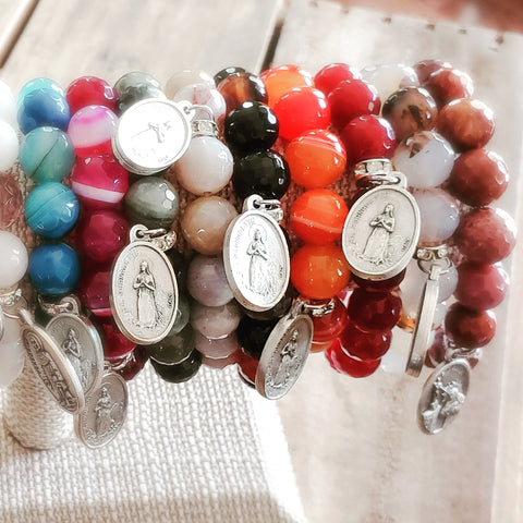 bracelet bar with 8 St. Bernadette medals on gemstone beaded bracelets by Marinella
