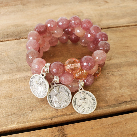 protection bracelets 12mm strawberry quartz prayer beads stack St. Peregrine medals