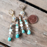 "Swarovski crystal flowers, turquoise, freshwater pearls double dangle earrings approx. 3"" long"