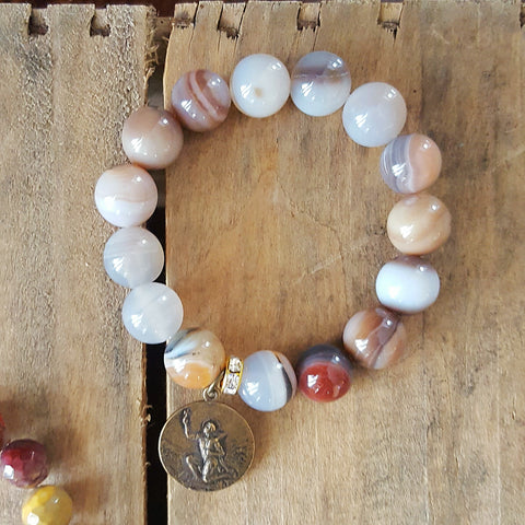 "12mm round smooth agate bead bracelet w bronze 1"" rare St. Expeditus medal"