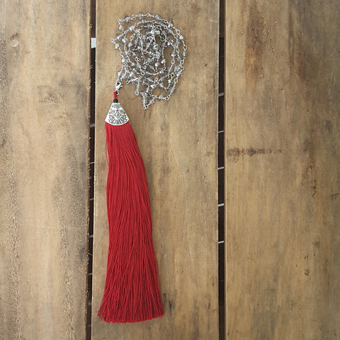 "Necklace by Marinella 37"" long chain crystal chain 7"" long red tassel removable pendant"