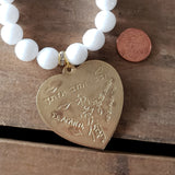 12mm white jade beads 44mm brass heart stamped with I love you many languages charm