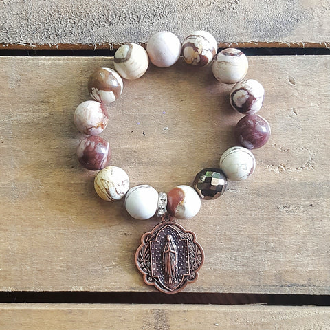 "Protection Bracelet 14mm Zebra jasper smooth beads 1.5"" round copper Our Lady of Grace medal"