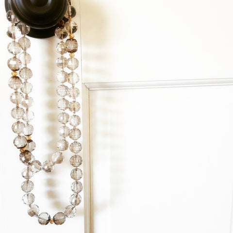 facetted smoky stones Swarovski crystals vintage brass hardware long bridal necklace