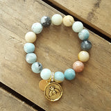 amazonite protection bracelet gold bee charm and M tag