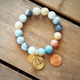 amazonite protection bracelet gold bee charm and M tag penny