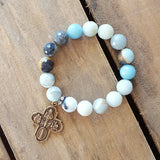 amazonite protection stone bracelet large brass 4 way cross double sided brass medal 12mm