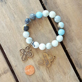 amazonite stone protection bracelet large brass 4 way cross double sided brass medal 12mm