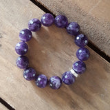 protection stone bracelet tumbled real amethyst facetted 14mm