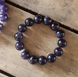 protection stone bracelet tumbled real amethyst smooth 14mm quality stretch
