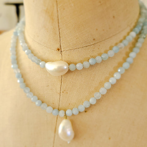 "14"" long aquamarine gemstone beads freshwater pearl center necklace"