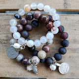 stack of agate 10mm 12mm bead bracelets w 11mm freshwater pearl dangles and belly dancer coins