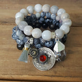 protection bracelets by Marinella stack of three 10mm to 12mm beads variety colors and charms
