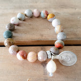 "10mm earthy agate gemstone beads 1"" round belly dancer coin & pearl dangle bracelet"