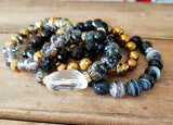 protection bracelets by Marinella 10mm 12mm round faceted jade, crystal, agate and Obsidian with crystal quartz nugget center