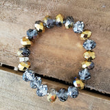 12x18mm beads gold clear crystal roundels stretch bracelet
