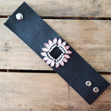 "2.5"" wide black leather cuff vintage pink and  rhinestone brooch embellishment bracelet"