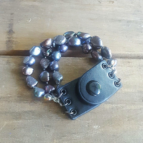 leather bracelet by Marinella jewelry freshwater approx 8mm peacock color pearls black leather snap clasp cuff style