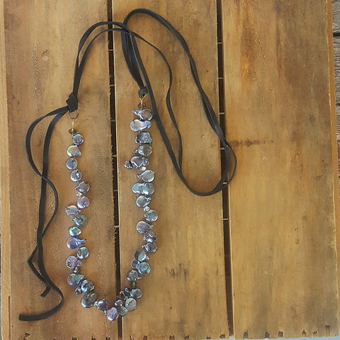 "necklace by Marinella jewelry leather and petal freshwater pearls approx 38"" long"