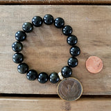12 mm black gold Obsidian round smooth stone w a 24 mm patina Athena Greek goddess coin charm