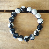 Protection Bracelet by Marinella 12mm black khaki agate