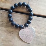 protection bracelet by Marinella jewelry 10mm matte black agate 44mm pewter stamped I love you heart charm