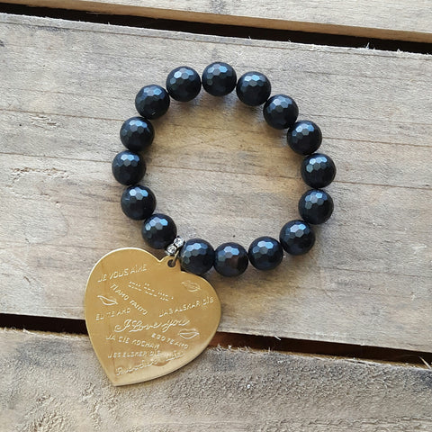 protection bracelet by Marinella jewelry 10mm matte black agate 44mm brass stamped I love you heart charm
