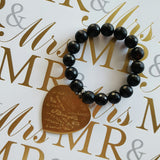 brass XL I Love You heart charm black agate bracelet qsb mr. & mrs.