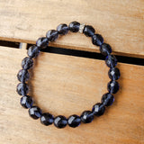 8mm blue Czeck beads quality stretch bracelet
