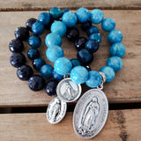 set of 3 St. Mary medals and 12mm to 14mm blue bead bracelets