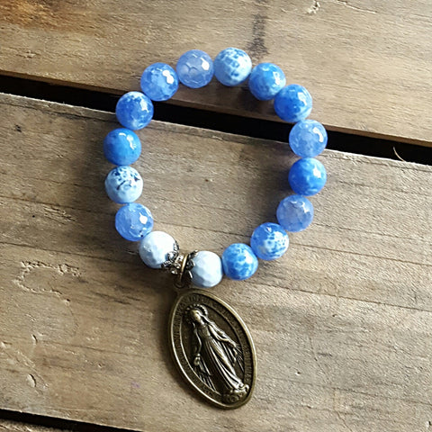 blue fire agate XL brass Mary Miraculous medal