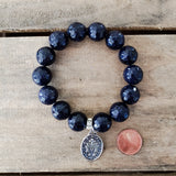 "12mm dark blue gold-stone beads 1"" oval Miraculous Mary medal"