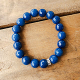 10mm blue agate gemstone beads quality stretch bracelet