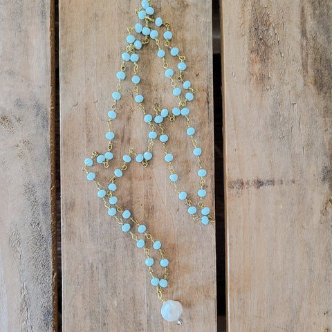 "32"" long blue & brass rosary chain w freshwater pearl pendant necklace"