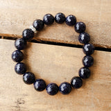 10mm blue goldstone gemstone quality stretch bracelet
