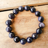 12mm blue goldstone gemstone quality stretch bracelet
