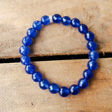 8mm blue jade gemstone beads quality stretch bracelet