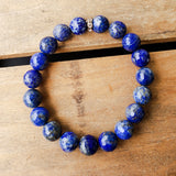 8mm blue Lapis gemstone beads quality stretch bracelet