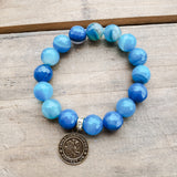 "12mm blue striped agate gemstone beads 1"" round brass St. Christopher medal"