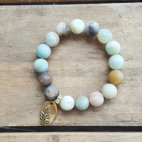 protection bracelets by Marinella jewelry 10mm amazonite stone gold pewter fern charm