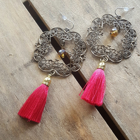 brass filigree squares hot pink tassesl swarovski topaz crystal earrings