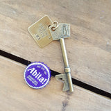 vintage inspired skeleton key bottle opener w brass custom stamped tag bottle cap